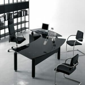 Forma Kristall Glass Executive Desk